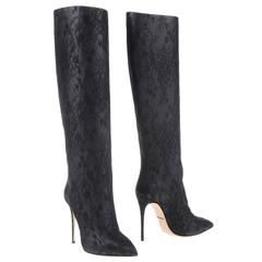Dolce & Gabbana NEW & SOLD OUT Black Lambskin Lace Knee Boots in Box