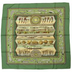 "Hermes Green Vie du Fleuve 36"" Silk Scarf"