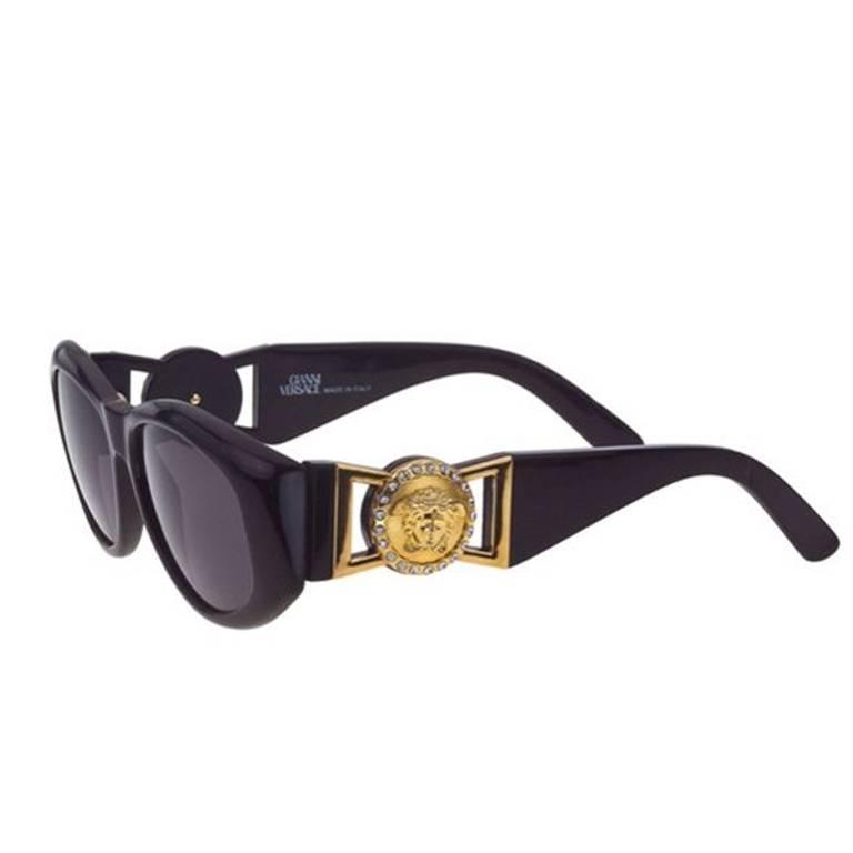 Versace Vintage Black MOD 424 Sunglasses with Rhinestones at 1stdibs