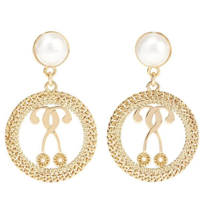 Moschino New Textured Gold Coin Medallion Pearl Evening