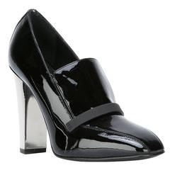 Giuseppe Zanotti NEW & SOLD OUT Black Patent Silver Heels Loafers Pumps in Box