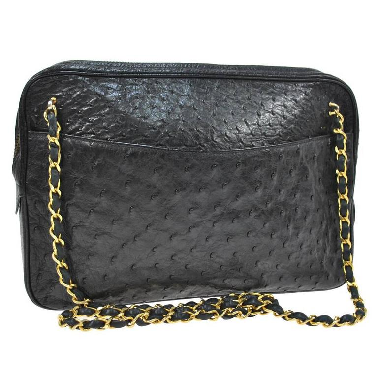 547d5a5bb28b Chanel Vintage Black Ostrich Gold Camera Evening Bag With Authenticity Card  For Sale