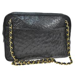 Chanel Vintage Black Ostrich Gold Camera Evening Bag With Authenticity Card