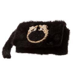 Gucci by Tom Ford Rare Black Mink Gold Pearl Embellished Evening Flap Bag