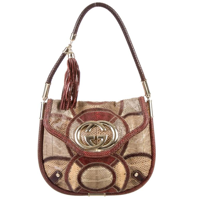 Gucci Multi Color Patchwork Python Snakeskin Gold Flap Shoulder Hobo Bag  For Sale d9c4d4c99cae6