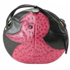 1980s. Vintage BALLY cute duck design black and pink ostrich leather mix bag.