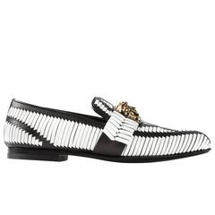 New Versace Woven Black and White Leather Driver Shoes for Men