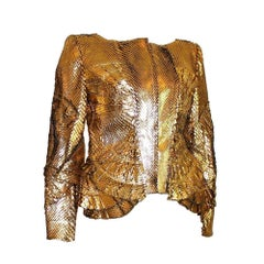 Rare GUCCI by Tom Ford Exotic Leather Gold Metallic Jacket Blazer - Unique Piece