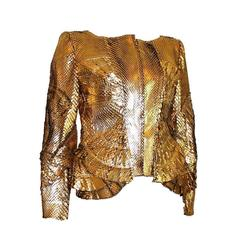 Gucci by Tom Ford Gold Metallic Leather Jacket Blazer