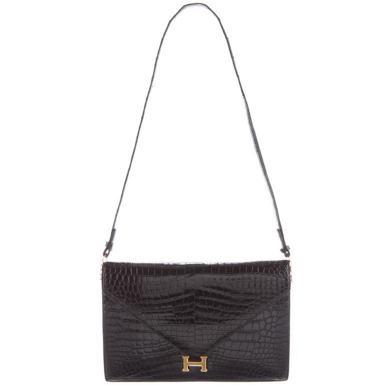 Hermes Rare Black Alligator Gold H Evening Envelope Flap Shoulder Bag
