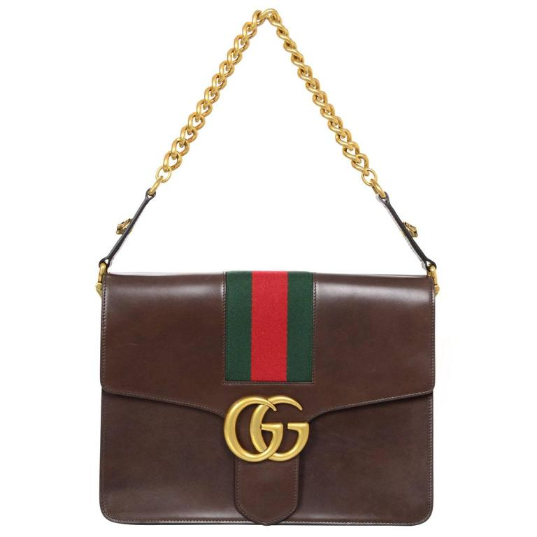 Gucci 2017 Brown Leather Marmont Shoulder Bag W Green Red Stripe For