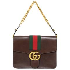 Gucci 2016 Brown Leather Marmont Shoulder Bag w/ Green & Red Stripe