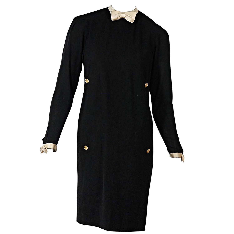 Black Vintage Chanel Long-Sleeve Bow Dress For Sale at 1stdibs