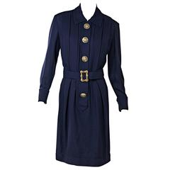 Navy Vintage Chanel Pleated Dress