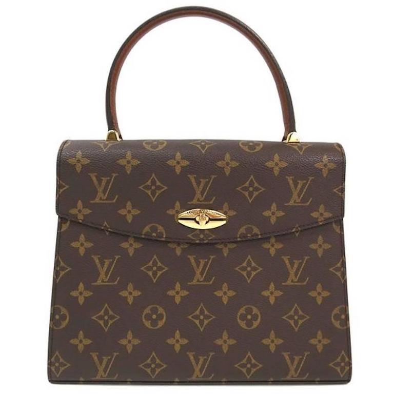 Louis Vuitton Cognac Brown Leather Silver Evening Top Handle Satchel Boston Bag gP3wwb80