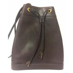 Vintage Valentino Garavani dark brown leather hobo bucket shoulder bag