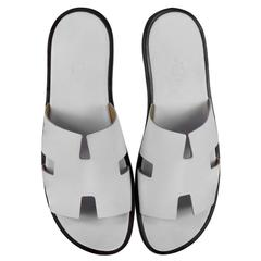 Hermes Men's Sandals Izmir Veau Leather White Color 43 Size 2016