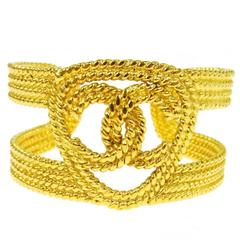 Chanel Vintage Gold Charm Logo Cutout Evening Cuff Bangle Bracelet