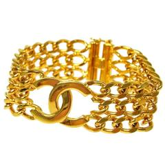 Chanel Vintage Gold Charm Three Strand Link Evening Cuff Bracelet