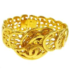 Chanel Vintage Gold Textured Filigree Charm Cuff Evening Bracelet
