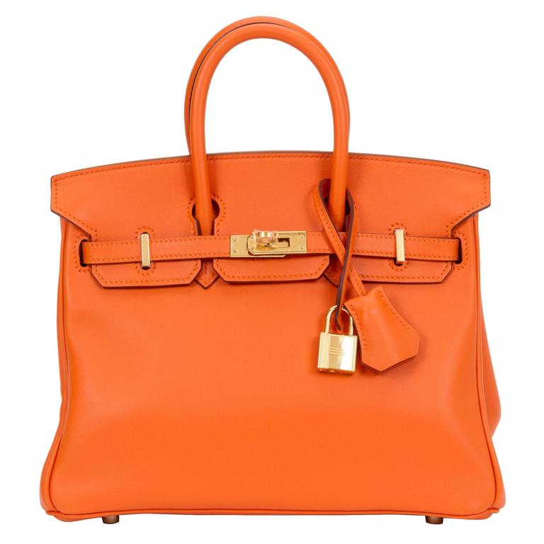 New in Box Hermes Rare Orange Birkin 25 Swift