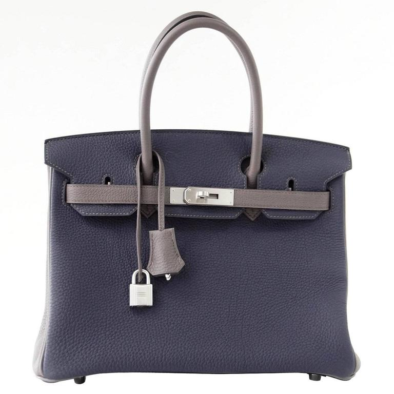 Hermes Birkin 30 Bag Blue Nuit and Etain Horseshoe Togo Brushed Palladium