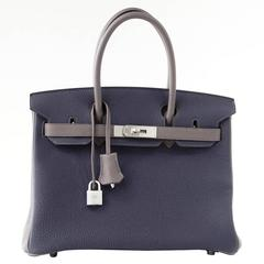 Hermes Birkin 30 Bag Blue Nuit and Etain Horseshoe Togo Brushed Palladium