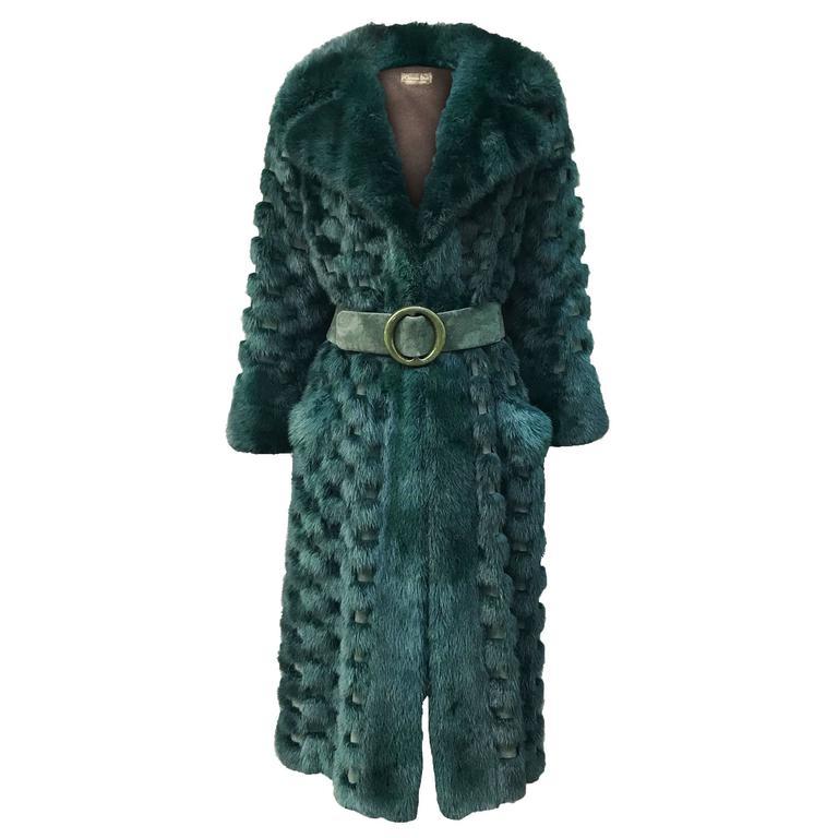 Christian Dior Rare Vintage Forest Green Mink/Leather basketweave coat. 1