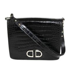 Stunning Delvaux black crocodile bag of the 60s