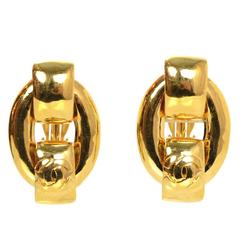 Chanel Large Goldtone Chain Link Clip On Earrings