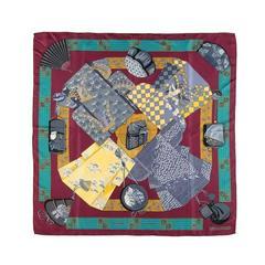 A Fine Hermes Silk Scarf, 'Kimonos et Inros' By Annie Faivre