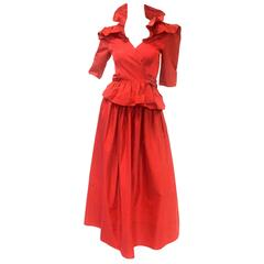 1990s Stephen Burrows Red Silk Satin Two Piece Evening Dress