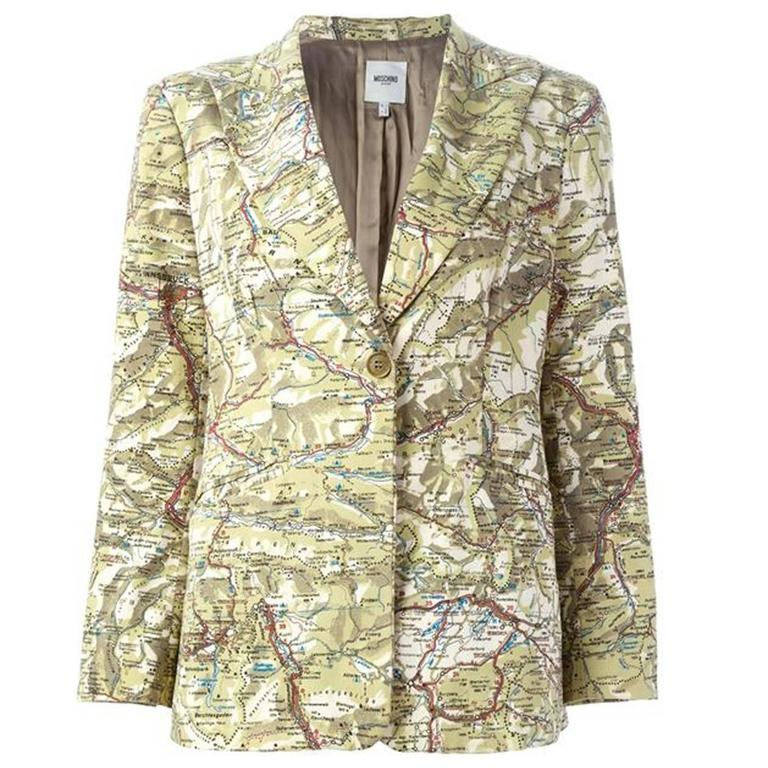 Moschino Cotton Map Blazer