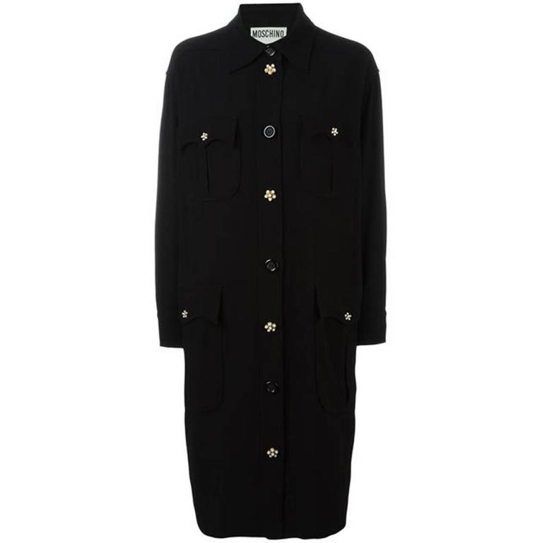 Moschino Black Wool Oversized Shirt Dress For Sale