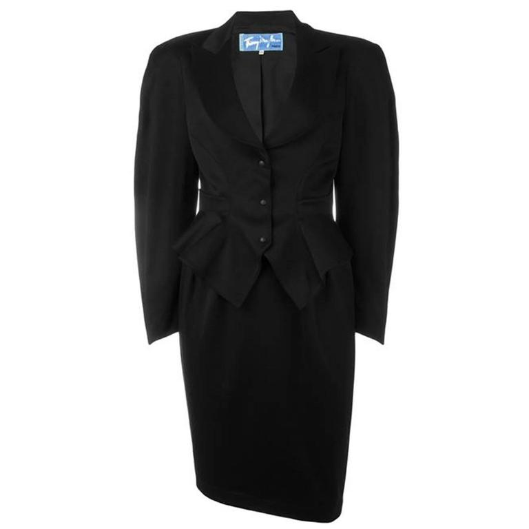Iconic Thierry Mugler Black Wool Suit