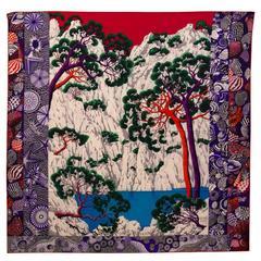 Hermes Shawl (Chale) 140cm Sieste au Paradis Model white/red/purple Color 2016