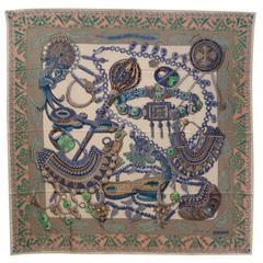 Hermes Shawl 140cm Zénobie, Reine de Palmyre white/denim blue/green Color 2016