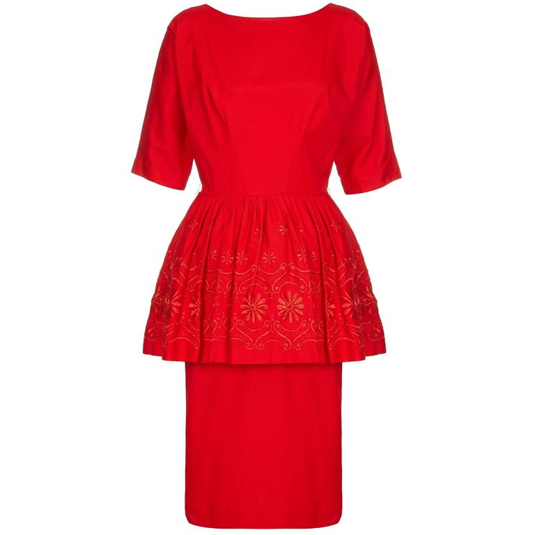 1950s/60s Red Cotton Dress with Embroidered Peplum  1