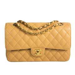 Chanel Caviar Double Flap Bag - Tan Beige Quilted Leather Medium CC Gold Handbag