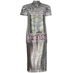 Mary Katrantzou Jigsaw Metal Mesh Jacquard Dress Runway, 2013