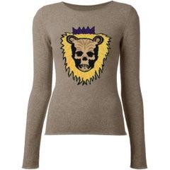 Lucien Pellat-Finet Tan Cashmere Lion Skull Sweater sz L