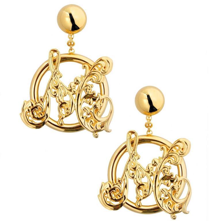 Moschino NEW Gold Filigree Monogram Large Evening Dangle Hoop Earrings 1