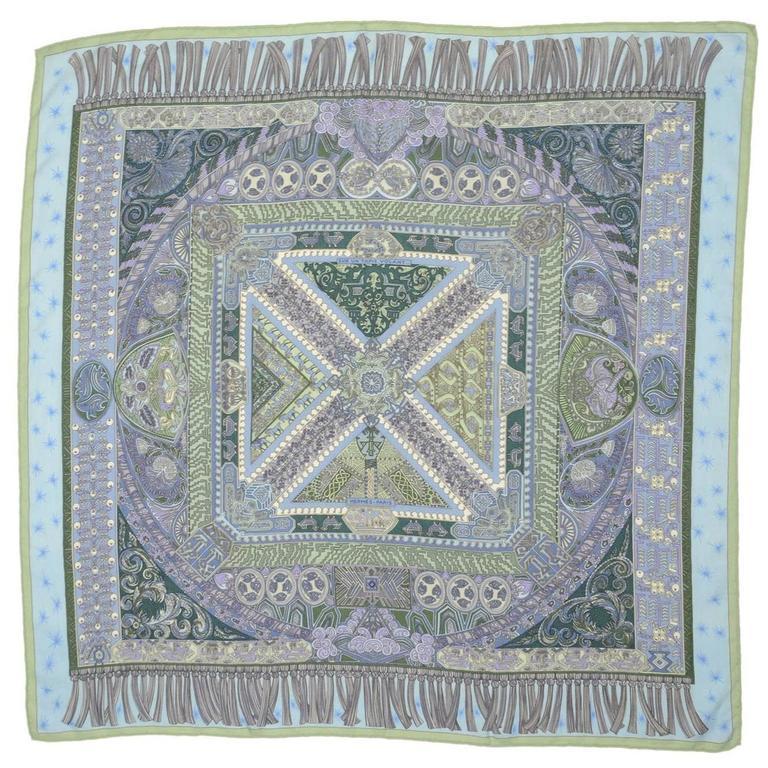 hermes blue sur un tapis volant cashmere and silk 35 square scarf for sale at 1stdibs. Black Bedroom Furniture Sets. Home Design Ideas
