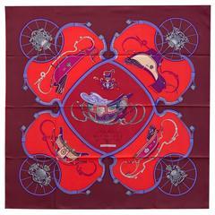 Hermes Carre 100% Silk Springs by Ledoux 90 cm Burgundy/Red/Myosotis Color 2016