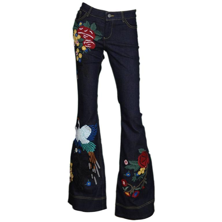 Alice & Olivia NEW Ltd Ed. Embroidered Denim Bell Bottoms sz 27 1