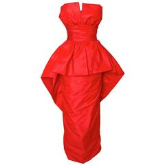 Victor Costa Bright Red Taffeta Evening Gown Strapless Sheath 1970s Size XS