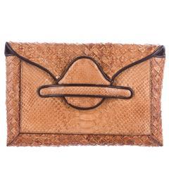 Bottega Veneta Cognac Brown Snakeskin Evening Envelope Flap Clutch Bag