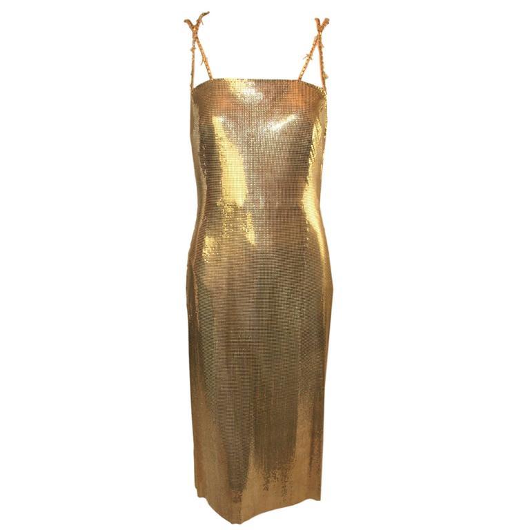 f  w 1998 gianni versace runway gold metal mesh dress at