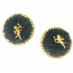 Vintage Karl Lagerfeld large round earrings with dark brown sheep fur and angel.