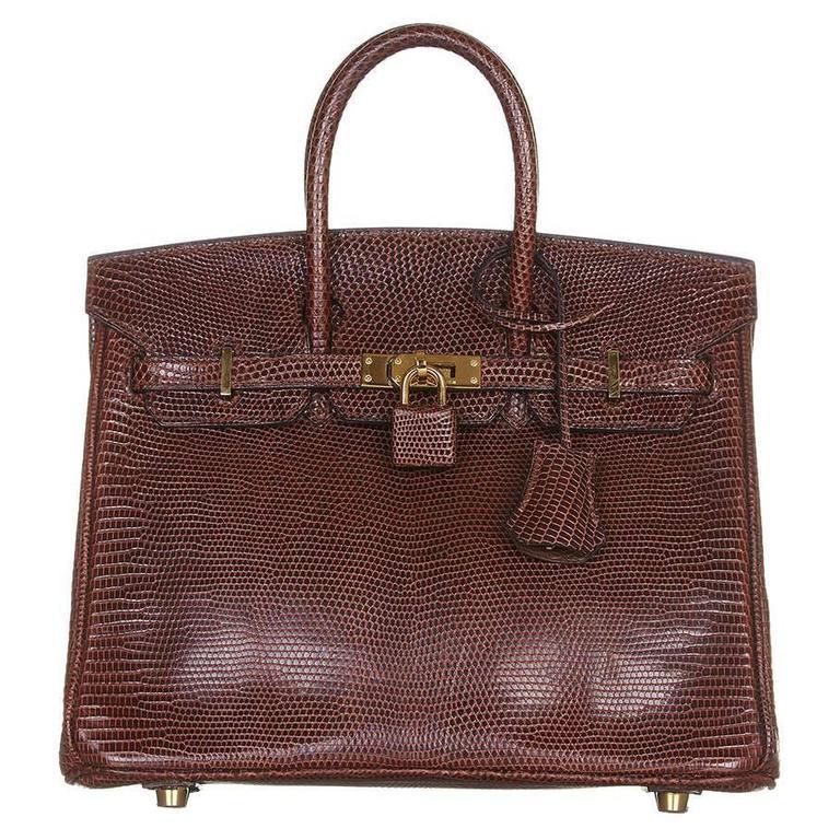 Hermes Cocaon Lizard Birkin 25 Bag For Sale